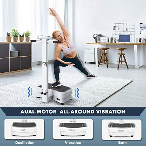 MaxKare 【Limited Promotion】 Vibration Plate Exercise Machine Vibration Platform Machine with Adjustable Handle 2 Motor & Loop Bands for Weight Loss,Toning &Fitness Indoor/Outdoor Exercise Workout 5