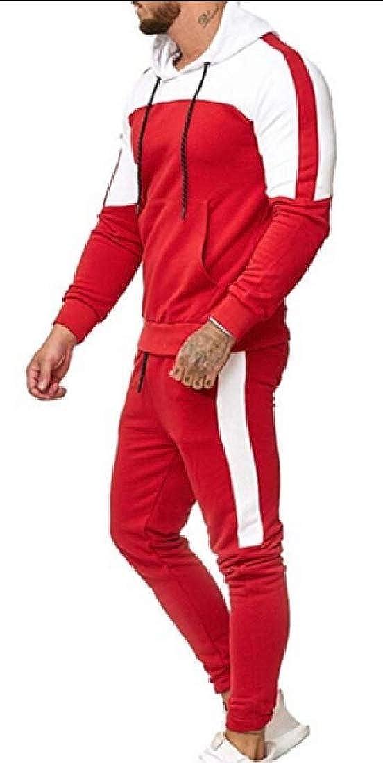 GenericMen Patchwork Sweatshirt Athletic Top Pants Sets Tracksuit Hoodies
