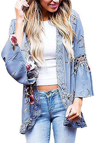 Women 3/4 Sleeve Floral Print Kimono Cardigan Blouse Top(Blue,L)