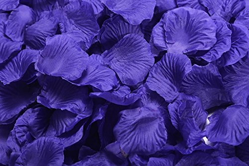 La Tartelette Silk Rose Petals Wedding Flower Decoration (2000 Pcs, Dark Slate Blue) - Dark Blue Rose