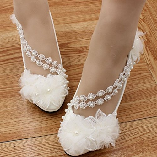 JINGXINSTORE Las mujeres hechas a mano Pretty Pearl White Lace Princess Bridal Shoe High Heels blanco