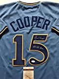 """Autographed/Signed Cecil Cooper """"5x All Star"""" Milwaukee Brewers Blue Baseball Jersey JSA COA"""