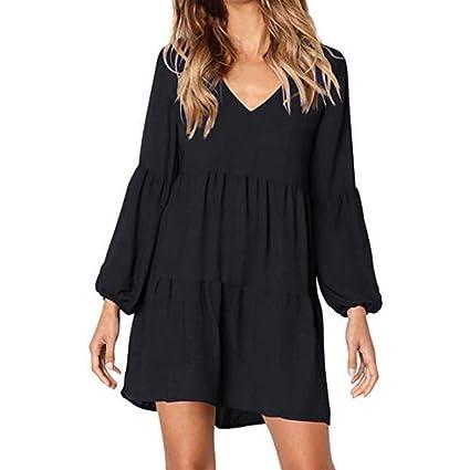 ea16760bddc Women Long Sleeve Mini Dress Cuekondy Fashion Solid Lantern Sleeve V-Neck  Draped Swing Evening
