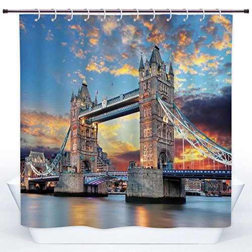 hower Curtain,London,Vista of Tower Bridge at Dramatic Sunset Thames River with Grey Clouds,Light Blue Yellow Tan,Polyester Shower Curtains Bathroom Decor Set with Hooks (Vista 4 Light Bath)