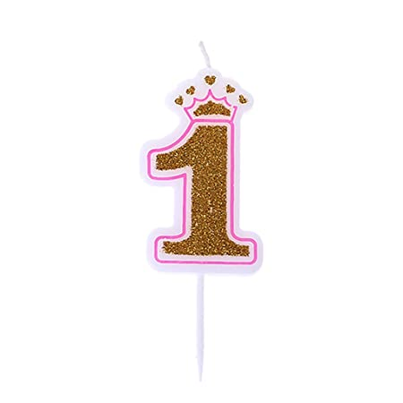 Chiic Vela – Corona de purpurina para tartas de cumpleaños con números 0 a 9, ideal como accesorio de cumpleaños PK 1