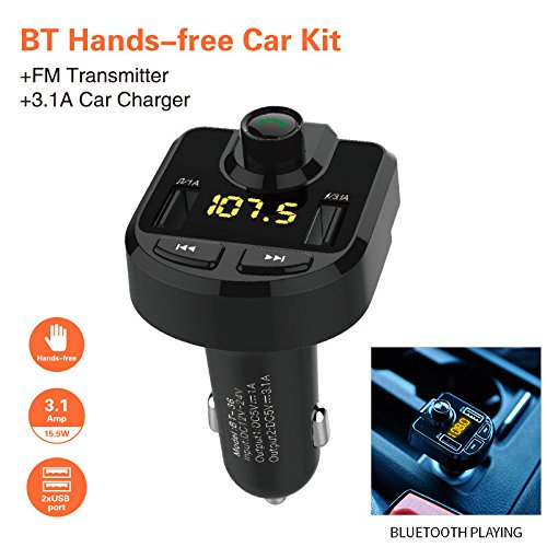 Price comparison product image Oldeagle Hands-free Bluetooth Car Kit FM Transmitter Wireless Radio Adapter MP3 Player Plus USB charger