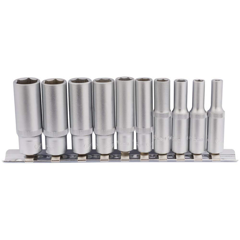 "Metric Deep Sockets on Metal Rail Genuine DRAPER 1//4/"" Sq Dr 10 piece 16399"