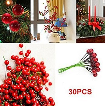 30pcs Christmas Berries DIY Artificial Fruit Berry Holly Flower Branch Wreath Craft Decoration Fendii