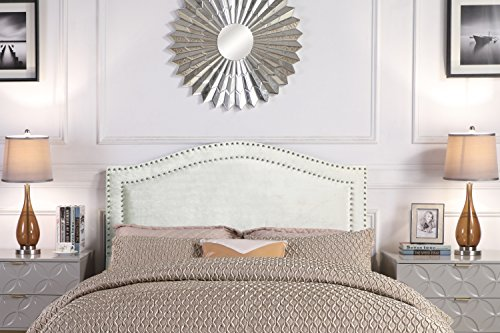 - Iconic Home FHB9041-AN Tal. Headboard Velvet Upholstered Double Row Nailhead Trim Modern Transitional King Silver