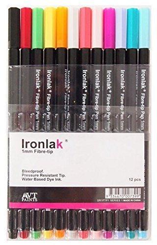 Ironlak 1mm Fibre-tip Pen Set 12 Colors Series 1