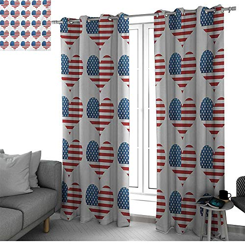 bybyhome American Flag Window Treatments Draperies for Bedroom Heart Figures with Flag Idol Patriot Pattern Modern American Day Graphic Print Curtains for Living Room White Red W108 x L108 Inch