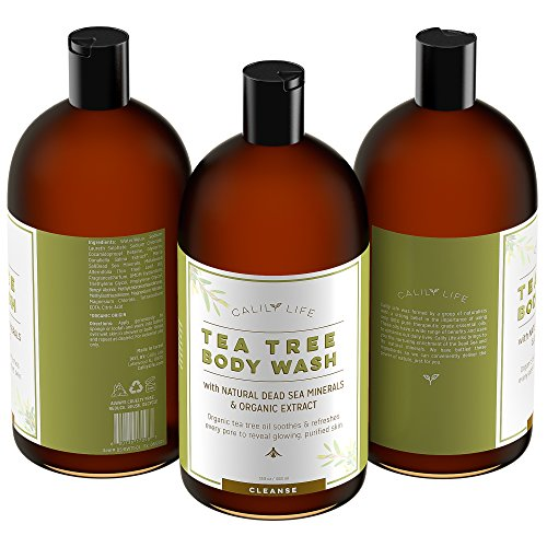 Calily Life Organic Tea Tree Oil Antibacterial Body Wash with Dead Sea Minerals, 33. 8 Fl. Oz.