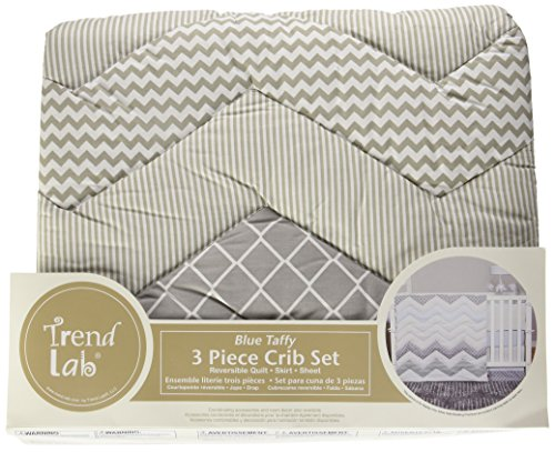 Trend Lab Chevron 3 Piece Crib Bedding Set, Blue Taffy