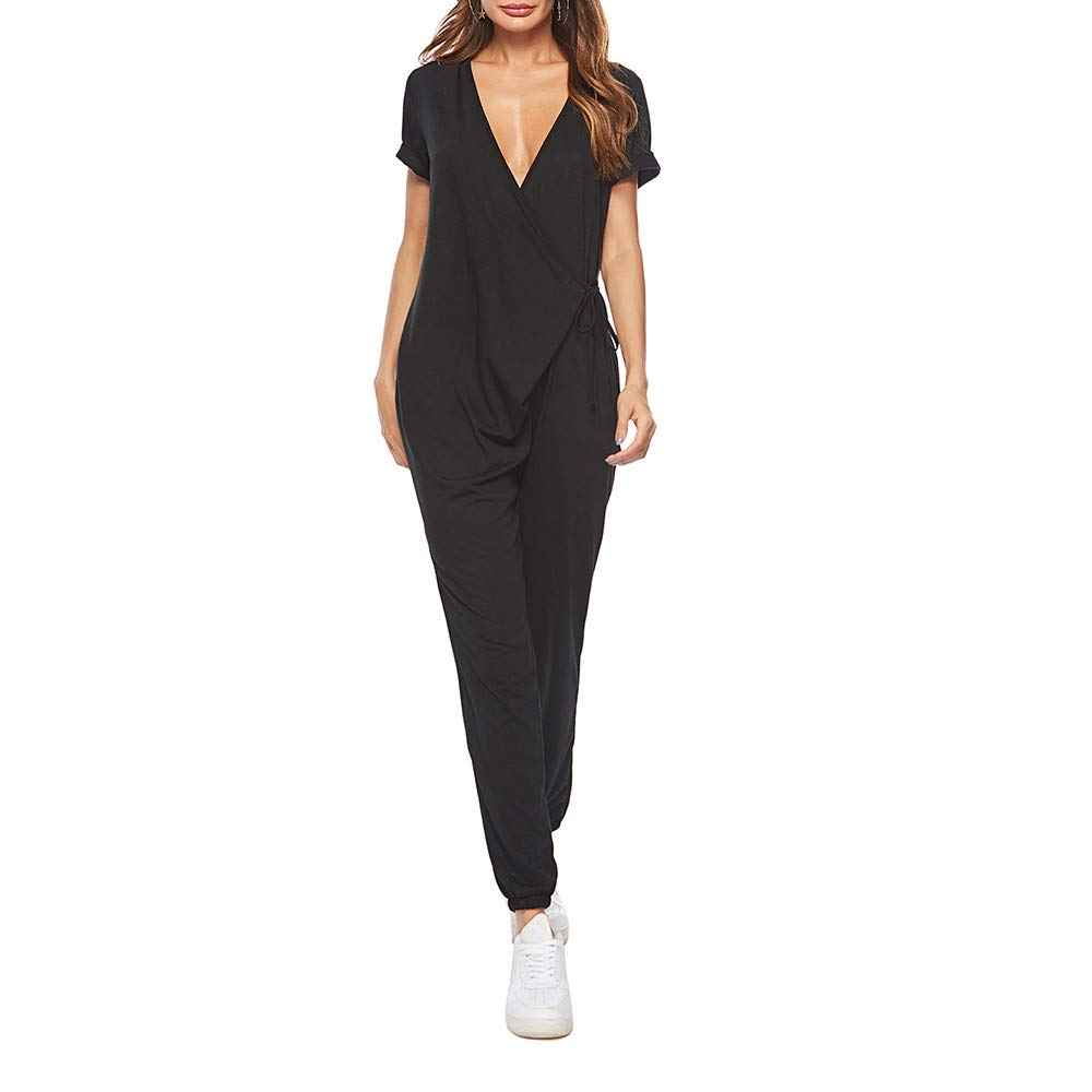 Amazon.com: NewKelly Women Casual Sexy Solid Loose Short Sleeve Playsuits Jumpsuits: Clothing