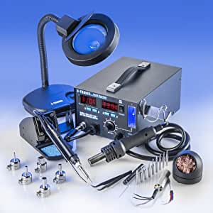 """4 IN 1 """"X-TRONIC"""" MODEL #7040-XTS HOT AIR REWORK SOLDERING IRON STATION, FUME EXTRACTOR, VACUUM PICKUP TOOL - 5 Hot Air Nozzles - 10 Ass. Solder Tips - 1 Each Hot Air & Iron Heating Element - Brass Sponge Cleaner - Tweezers - 1 5X MAGNIFYING LAMP"""