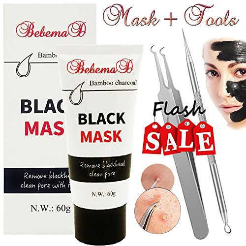 Blackhead Remover Mask by Bebemad - Purifying Peel Off Mask Activated Charcoal for Face and Nose Professional Deep Pore Cleansing Mask Suction Black Mud Mask 60g Cleansing Mud