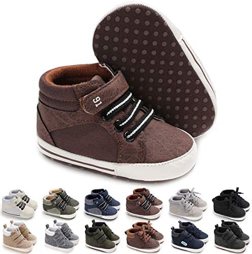 KaKaKiKi Baby Boys Girls High Top Canvas Sneakers Soft Soles Anti Skid Infant Ankle Shoes Toddler Prewalker First Walking Crib Shoes