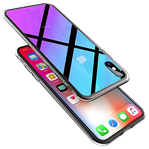Wireless Charger iPhone X Case, Ztotop 2018 New Style Slim Fit Gradual Colorful Gradient Change Color Case for Apple iPhone X/10 with Ultra Thin Lightweight Anti-Drop Hard Back, Transparent Red from Ztotop