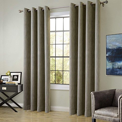 FirstHomer Cotton Rayon Chenille Blackout Insulated Thermal Curtain Panel Drapes Olive Grey 72Wx84L Inch (1 Panel) Anti-Bronze Eyelet / -