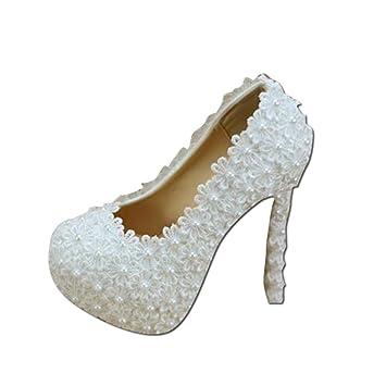 Brautschuhe Elegante Spitze Blumen Hochzeit Schuhe Weiss