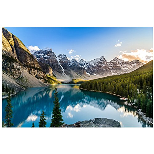 Modern Canvas Art Decor Painting Famous Natural Outdoor Scenery Moraine Lake Landscape Wall Picture for Living Room (Unframed 36x48 Inch)
