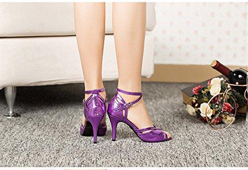 Hauts 36 Été Talons Color De L'amitié Danse Sandales Carré amp; Adultes Tmkoo Latine Fond Violet Femmes À Chaussures Doux Taille Hpwv7Fxfq