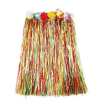 e Corto 40 Cm 60 Cm Matissa Gonna Hawaiana Hula Grass e Flower Leis Costume per Donna Luau Costume in Due Misure Lungo