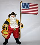 '' America's Bravest ''Santa Clause Firefighter Musical Fabriche Figurine Playing '' God Bless America'' 12''