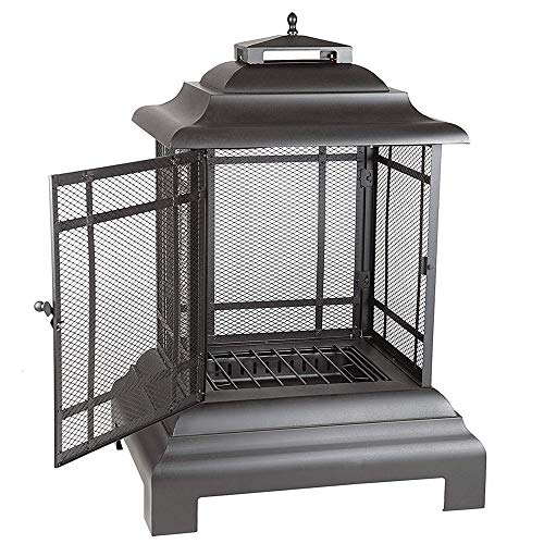 BS Fire Sense Patio Fireplace Outdoor Garden Backyard Pool Side Steel Freestanding Heat-Resistant Removable Ash Trap Fire Tool Easy to Stoke Style Asian Pagoda Black & eBook by BADA shop
