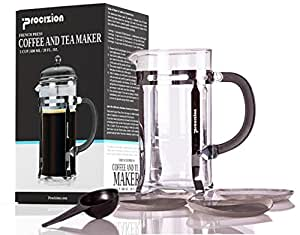 French Press 20 Oz Pot, Coffee, Espresso and Tea Maker, Chrome, Includes 6 Filters by Procizion