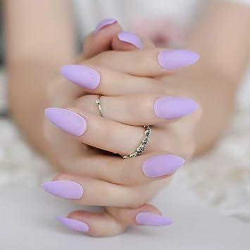 EchiQ - Uñas postizas con forma de aguja de almendra, color ...