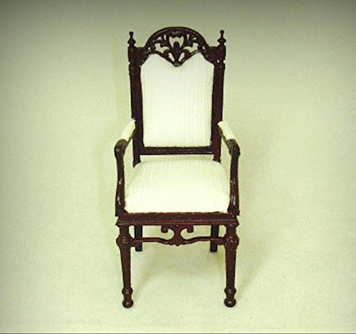 Bespaq Provincial Manor Carved Mahogany Arm Chair 1:12 Dollhouse Miniatures - My Mini Garden Dollhouse Accessories for Outdoor or House Decor - Bespaq Dining Room