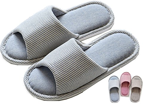 Foam Flax Striped Lijeer Men Indoor Slide Slippers Women Home Casual Toes House Cozy House Open Cotton Memory 48qqzwcTr