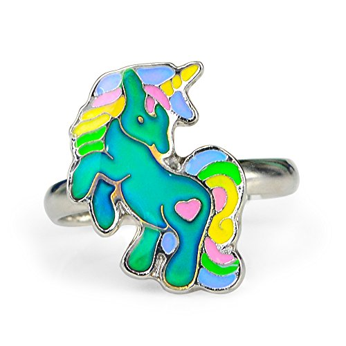 Fun Jewels Cute Fairy Tale Unicorn Kids Color Change Mood Ring For Girls Size Adjustable