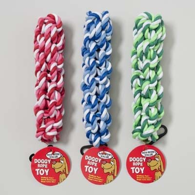 DOG TOY ROPE TWIST 7.5 INCH 3 COLORS W/HANG TAG IN PDQ, Case Pack of 78 by DollarItemDirect