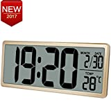 """13.8"""" Jumbo LCD Display Alarm Clock with Oversize Digits, Large Digital Wall Clock Displays Time /Date /Temperature, Desk Clock with Snooze, Battery Backup, Button Cell Battery Included,Gold"""
