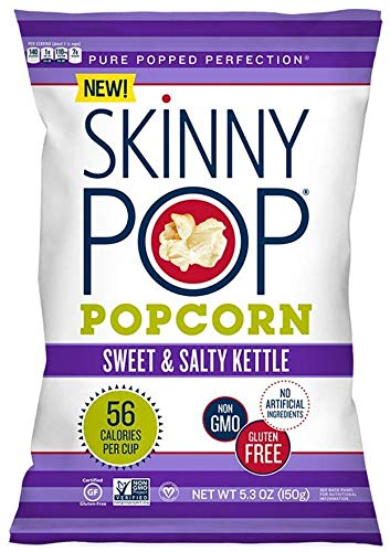 SkinnyPop Popped Sweet and Salty Kettle Popcorn, Vegan, Gluten-free, Non-GMO, Healthy Snacks, 5.3oz Grocery Sized Bags (Pack of 12)
