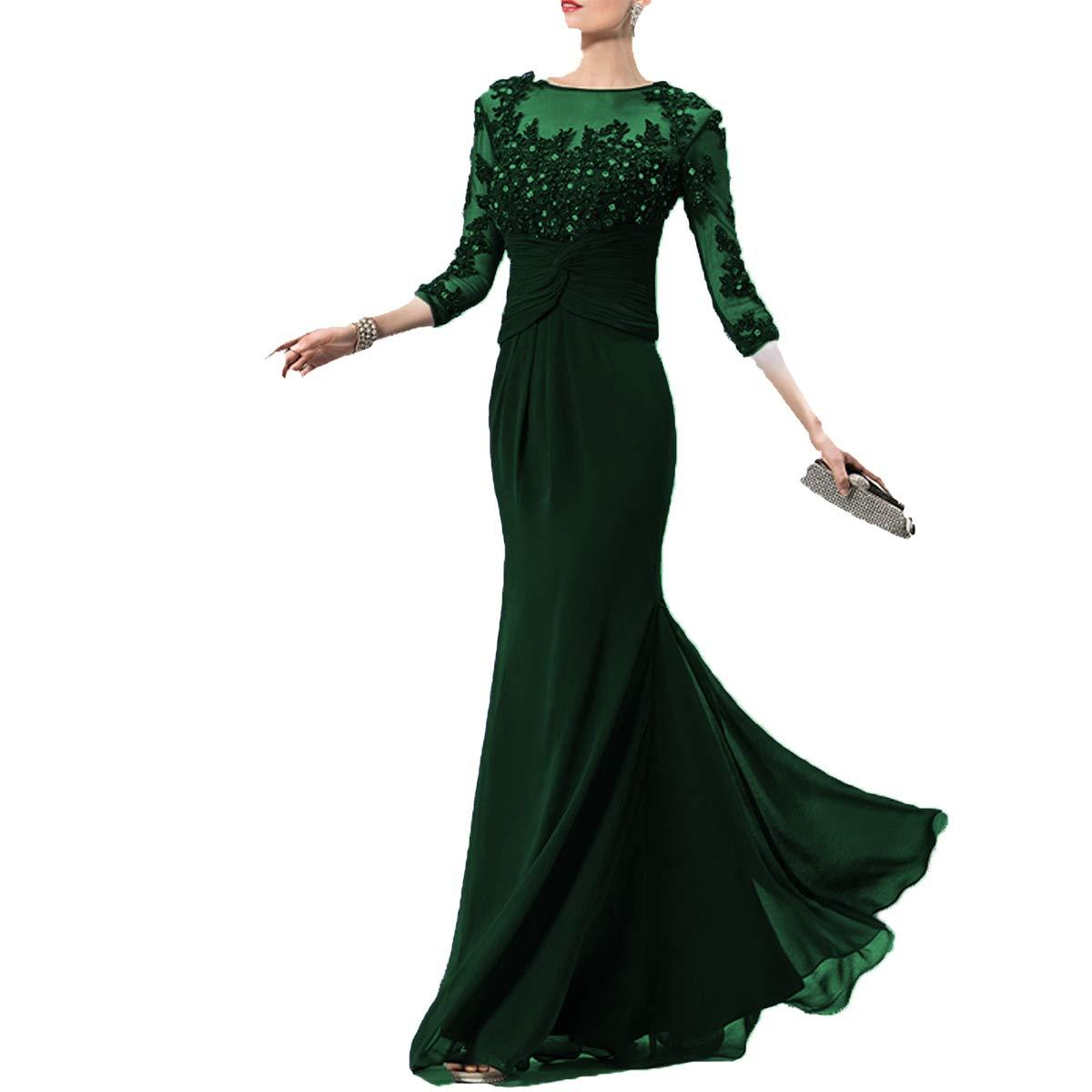 Dark Green SDRESS Women's Rhinestones Appliques Illusion 3 4 Sleeve Scoop Neck Mother Dress
