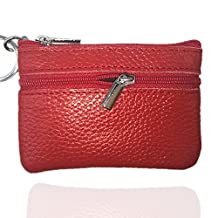 Genuine Leather Coin Purse Men Ladies Mini Zippered Cash Bag Wallet Change Holder With Key Ring (Red)