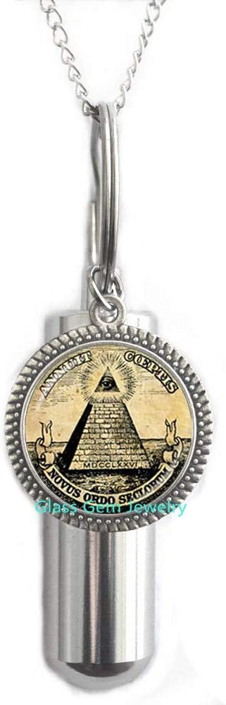glasso0gemo0jewelry Annuit Q0272 - Collar urn de cremación con forma de pirámide de Egipto, ojo de la Providencia, Maic, Illuminati, signo maico, geometría sagrada de cremación