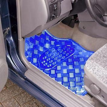 eSituro Universal Fu/ßmatten Automatten Aluminium ALU Chorm Look Blau SCM0066