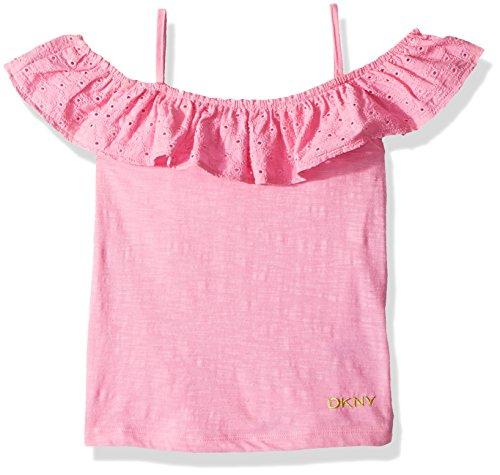 Eyelet Big Shirt - DKNY Big Girls' Tank Or Cami Shirt, Eyelet Cold Shoulder Sachet Pink, 7