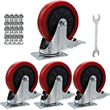 4 Pack Heavy Duty Swivel Plate Casters Wheels Top Plate 360 Degree Castors Movable PVC Wheel Safety Dual Locking Brake Caster with Screw Bolts (5 Inch)