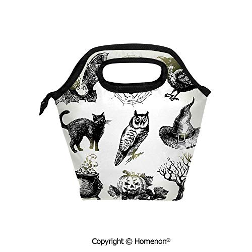 Insulated Neoprene Soft Lunch Bag Tote Handbag lunchbox,3d prited with Halloween Related s Drawn by Hand Raven Owl Spider Black Cat,For School work Office Kids Lunch Box & Food Container]()