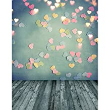 5x7 Photography Backdrop Green Wall Glitter Pink Hearts Gold Light Dots with Grey Wood Floor Baby Photo Backgrounds for Studio