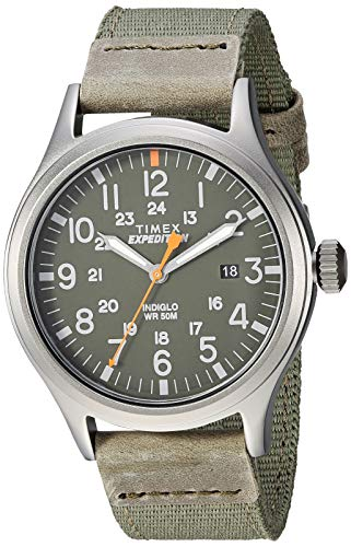 Timex Men's TW4B14000 Expedition Scout 40 Green/Gray Leather/Nylon Strap Watch