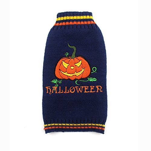 DOGGYZSTYLE Halloween Sweater Costume for Small Medium Large Dogs Navy Blue & Orange Pumpkin Knit Pet Outfit (M, Pumpkin) ()