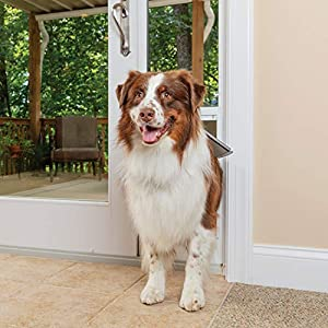 PetSafe Freedom Aluminum Patio Panel Sliding Glass Dog and Cat Door, Adjustable 76 13/16 in to 80 11/16 in - Large White Pet Door