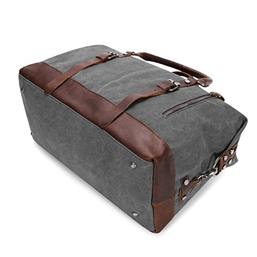 238e4cfa995 BAOSHA Oversized Canvas PU Leather Travel Tote Duffel Bag Weekender  Overnight Bag (Grey)