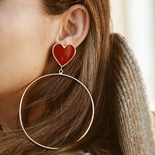 Doubnine Huge Hoops Gold Earrings Red Heart Charm Vintage 80s Big Circle Dangle Drop Hippie for Women - Gold Earrings Red Heart